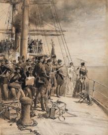 Edoardo Matania_Partenza da Napoli di 180 volontari colla principessa Belgioioso, tecnica mista su carta, 48.5 x 38.5 cm
