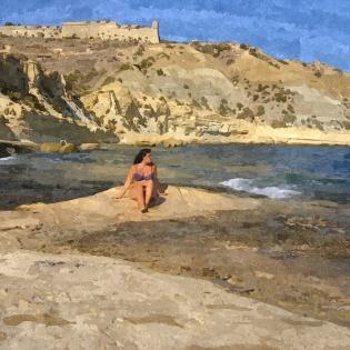Gozo spiaggia drago foto Poli_FotoSketcher olio